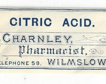 Vintage Citric Acid Paper Ephemera Medicine Drug Pharmacy Label, 1920s