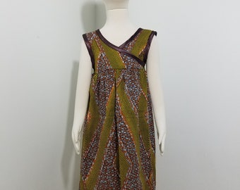 African Print girls' sundress with criss-cross top- burnt orange with brown trim (size: 5T)