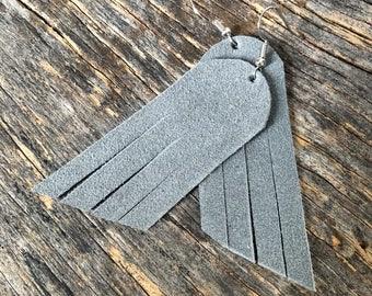 Leather earrings - Fringe - Gracefully Gray