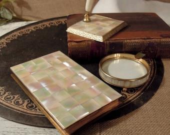 Vintage MOP Desk Set / Ashtray / Pen Holder Stand / Address Flip Book / Mother of Pearl and Gold Tone Metal / Vanity Set / Desk Set