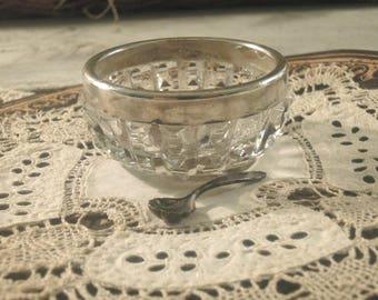 Vintage / Antique Sterling and Cut Glass Salt Cellar / Sterling Little Salt Spoon