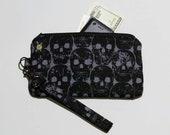 Black Skulls Phone Wristlet, Punk Rock, Goth Purse, Fabric Clutch, Zipper Pouch, Detachable Strap, Small Zipper Purse, Deathrock Psychobilly