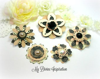 Prima Almanac Handmade Black and Peachy Pink Paper Embellishments and Paper Flowers for Scrapbooking Cards Mini Albums and Papercrafts