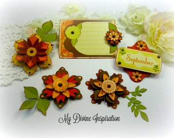 Handmade Fall Paper Embellishments and Fall Paper Flowers for Scrapbooking Cards Mini Albums Tags Junk Journals PLanners and Papercrafts
