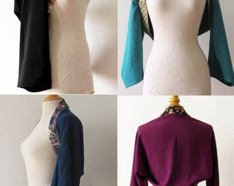 Boléro kimono en crêpe et tissu japonais personnalisable