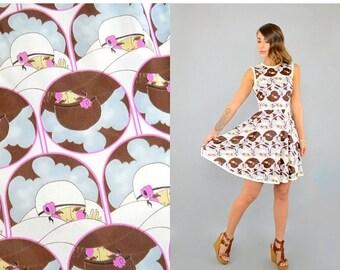 SUMMER SALE 60's Novelty Mod Mini Dress