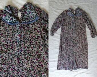 Vintage 1920's Floral Chiffon Drop Waist Dress / Sweetheart Collar / Soft, Feminine, Flapper / Women's 20's Dress