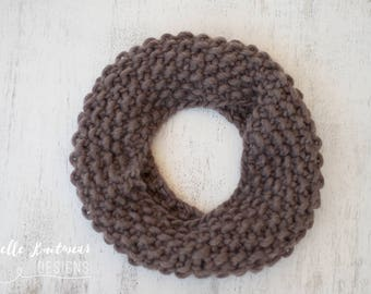 Women's Knit Cowl, Chunky Pure Wool Cowl, Moss Stitch Knit Cowl, Knit Cowl, Light Brown Cowl, Gift For Her, Women's Knitwear