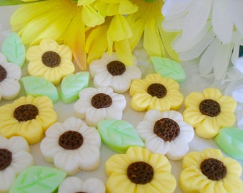 DAISIES AND LEAVES - 6 dozen Cream Cheese Mints, Weddings, Birthdays, Cupcake Toppers, Cake Decoratioms, Special Occasions