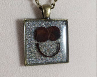 Happy Face Sparkling Holographic Silver Enamel Hand Layered Desert Smiling Face Upcycled Reclaimed Treasures Resin Pendant