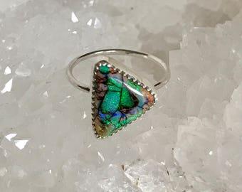 Opal Ring, Sterling Silver Ring, Gemstone Ring, Sparkle Ring, Monarch Opal Ring, Cultured Opal Ring, Everyday Ring, Stacking Ring