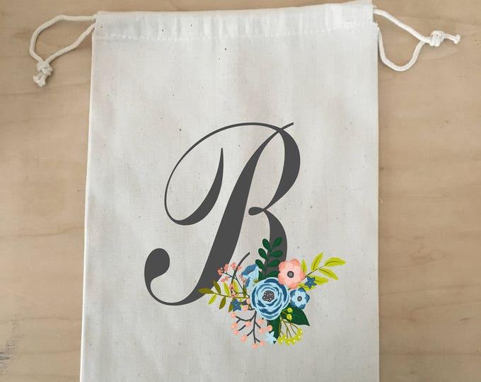 Drawstring Bag, Bridesmaid Floral Initial, Canvas Bag, Drawstring Bag, Bridal Party Gift Bag, Flower Girl, Initial Bag, Monogram