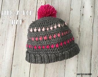 Peek-A-Boo Crochet Hat Pattern, Valentine's Day Crochet, heart crochet pattern, valentines day gift, pom pom hat, crochet hat pattern