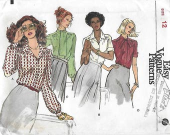 Vogue 7008 Misses' 70s Loose-Fitting Blouse with Neckline Variations, Tie Collar, Sewing Pattern Size 12 Bust 34