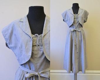 1940s Gray Cotton Sundress and Jacket