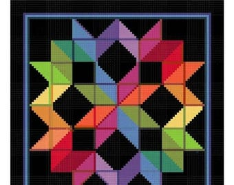 GREAT SALE Carpenters Wheel inspired by an Amish Quilt Counted Cross Stitch Chart Pattern