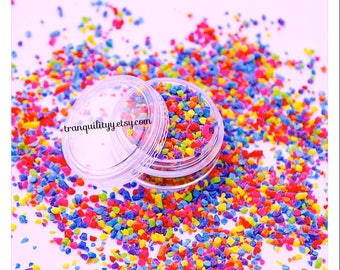 Bright Rainbow Faux Sprinkles, SLIME Faux Sprinkles 5 Grams ,  Crumbles Rainbow , Decoden , Clay Sprinkles, Handcrafted By: Tranquilityy