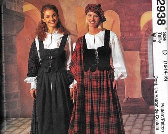 McCall's 2938 Scottish Celtic Weskit Skirt Dress Costume Sewing Pattern UNCUT Size 12, 14, 16 Renaissance
