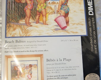 Dimensions Needlecrafts 35216 Beach Babies Counted Cross Stitch Kit Little Girls On The Beach Seaside Playing In The Sand