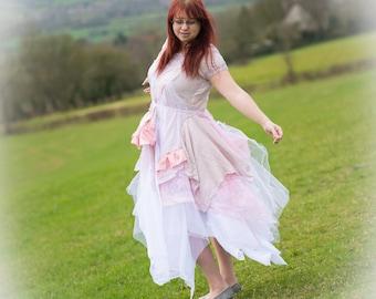 Custom-made wedding dress;  ball gown; prom dress; special occasion dress; evening dress. Bohemian, gypsy, fairy, goddess, bridesmaid