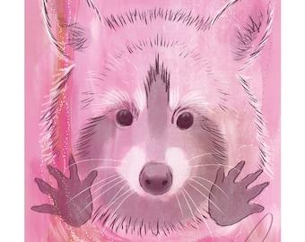 5x7 Nursery Print - Racoon, Pink