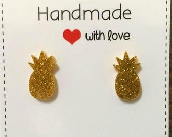Pineapple Acrylic Glitter Stud Earrings