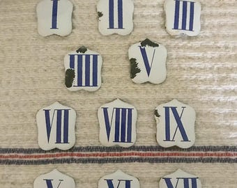 French enamel numerals - white and blue- set of 11
