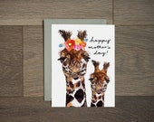 Illustration de mère heureux jour - carte - girafe maman et bébé - fleur art - à la main lettrage