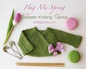 Hug me Spring, PDF Knitting Pattern, Sweater Knitting Tutorial, DIY, Waldorf Doll Clothing Pattern,