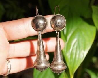 Tribal Silver Indian Drop Earrings