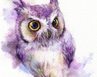 PRINT –owl Watercolor painting 7.5 x 11""