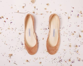Suede Ballet Flats | Women's Slip Ons | Ballerina Pumps | Wedding Shoes | Minimal Shoes | Cinnamon | Made to Order