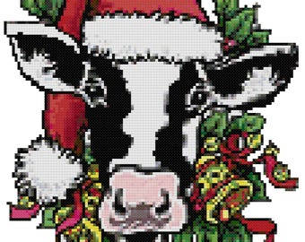 A Christmas Cow Cross Stitch Pattern
