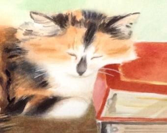 "Original Cat Painting ""Samantha Sleeping"" Original Watercolor Art Cat Sleeping in the Bedroom. Cat Wall Decor Cat Painting Bedroom Decor"