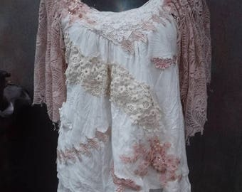 20%OFF wedding, bridal, bohemian, wildskin, gypsy, smock, top, lace, woodland, maternity, ivory, bridal, festival, hippy, stevie nicks, s,m,