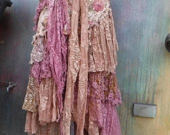 20%OFF wedding, bridal,tattered skirt, boho, fantasy, stevie nicks, bohemian skirt, gypsy skirt, pink, lace skirt, bellydance, small, medium