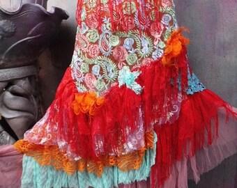 20%OFF wedding skirt,tattered skirt, mori girl, stevie nicks, bohemian skirt, gypsy skirt, lagenlook skirt, bellydance, wrap skirt, xs, smal