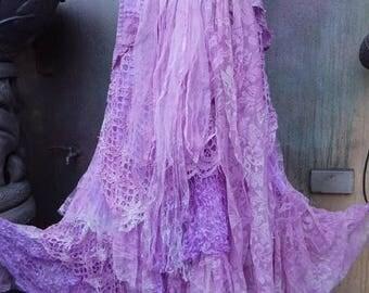 20%OFF wedding, bridal,tattered skirt, boho, fantasy, stevie nicks, bohemian skirt, gypsy skirt, purple, lilac, bellydance, medium, large