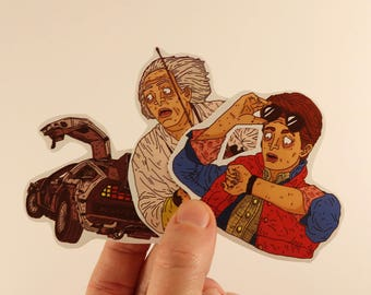 back to the futur stickers laptop labels tags illustration - doc marty mcfly delorean