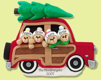 LARGE Belly Bear Family of 4 in Woody Wagon HANDMADE POLYMER Clay Personalized Christmas Ornament