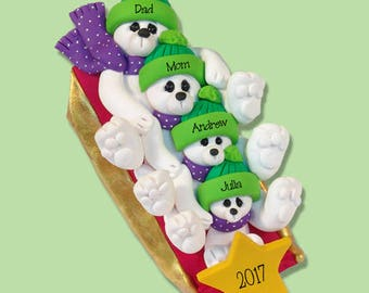 Polar Bear Family of 4 on SLED HANDMADE Polymer Clay Personalized Christmas Ornament - Limited Edition