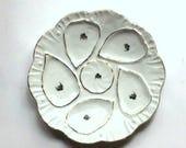 Antique Porcelain Oyster Plate- French Fleamarket Finds - Summer Dinner Party Props -Beach House Decor