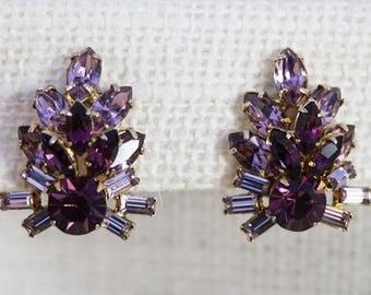 1950's Light and Dark Purple Amethyst Dimensional Crystal Rhinestone Earrings