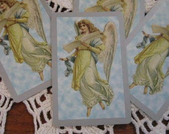 Vintage Mid Century Blue Angel 4 Playing Cards Repurpose for Valentine Easter Christmas Birthday Gift Tags Place Cards Table Numbers Pastel