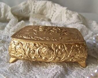 Vintage Jewelry Casket Gold Tone Footed Jewelry Box Trinket Box Metal Jewelry Box