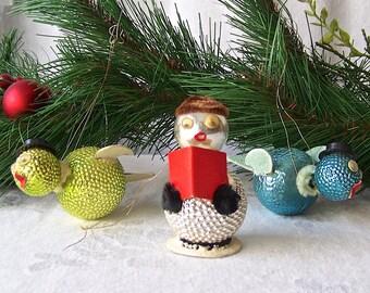 Vintage Google Eye Christmas Ornaments Glass Birds and Snowman Christmas Tree Holiday Ornament 1940s