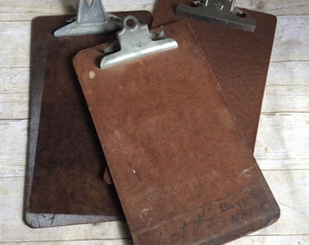 Three Vintage  Clipboards Industrial Office Supplies