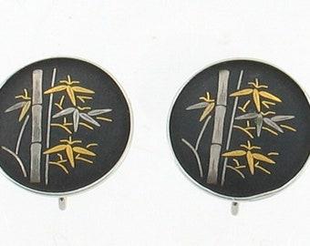 Vintage Amita Sterling Gold Silver Damascene Japan Bamboo Earrings Screw Back