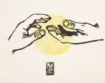 "LINOCUT PRINT-   ""Waiting -part II""- artistic print- gift for art lover"