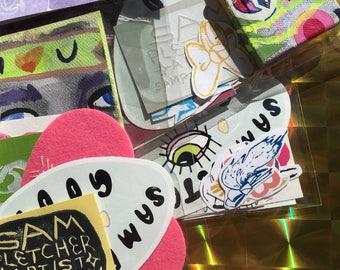 GRAB BAG! / Multiple items / Stickers, Prints, Drawstring Bag, Painting etc.